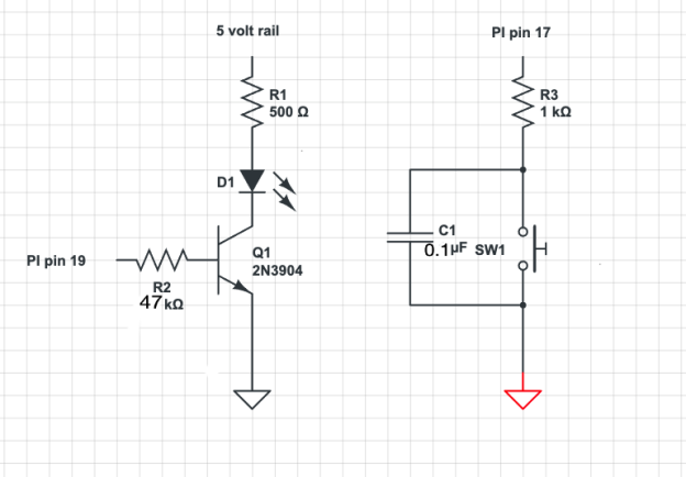 a simple circuit to implement a run indicator and shutdown button